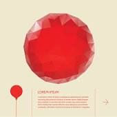 Abstract composition with geometric red big round button, with place for text.