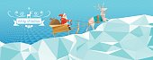 polygonal  illustration of santa claus with reindeer sleigh in winter landscape
