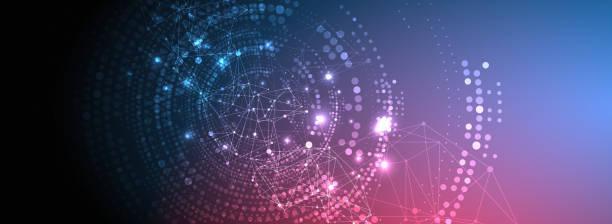 Polygonaler Wissenschaftshintergrund mit verbindenden Punkten und Linien. Digitale Datenvisualisierung. – Vektorgrafik