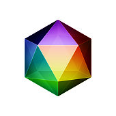 Vector illustration of a polygon design element. Vibrant colors