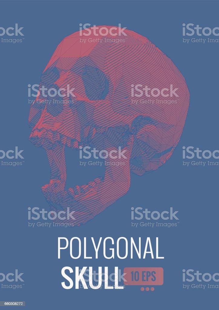 Ilustración de Cráneo Poligonal Con El Volumen De La Línea De Banda ...