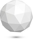 polygonal sphere icon on a white background