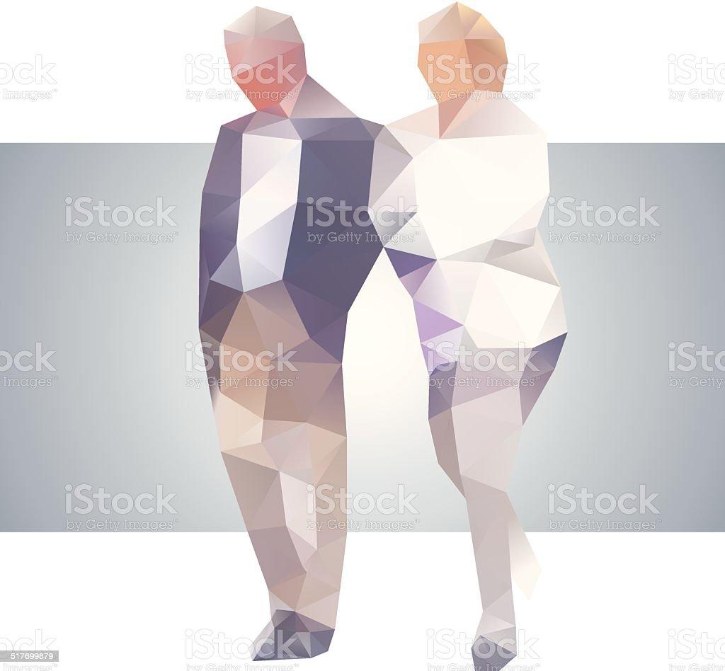 Polygonal street old couple vector art illustration