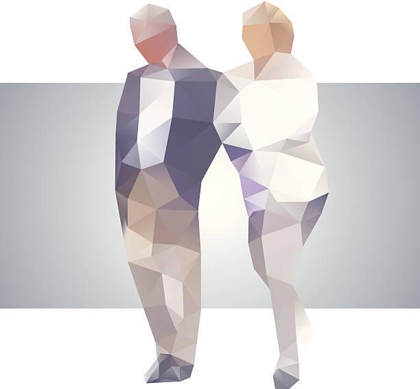 bildbanksillustrationer, clip art samt tecknat material och ikoner med polygonal street old couple - aktiva pensionärer utflykt