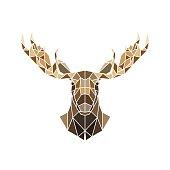 Polygonal style, moose face wild animal.