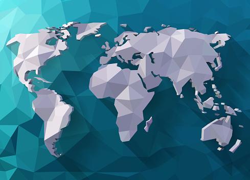 Polygonal style world map