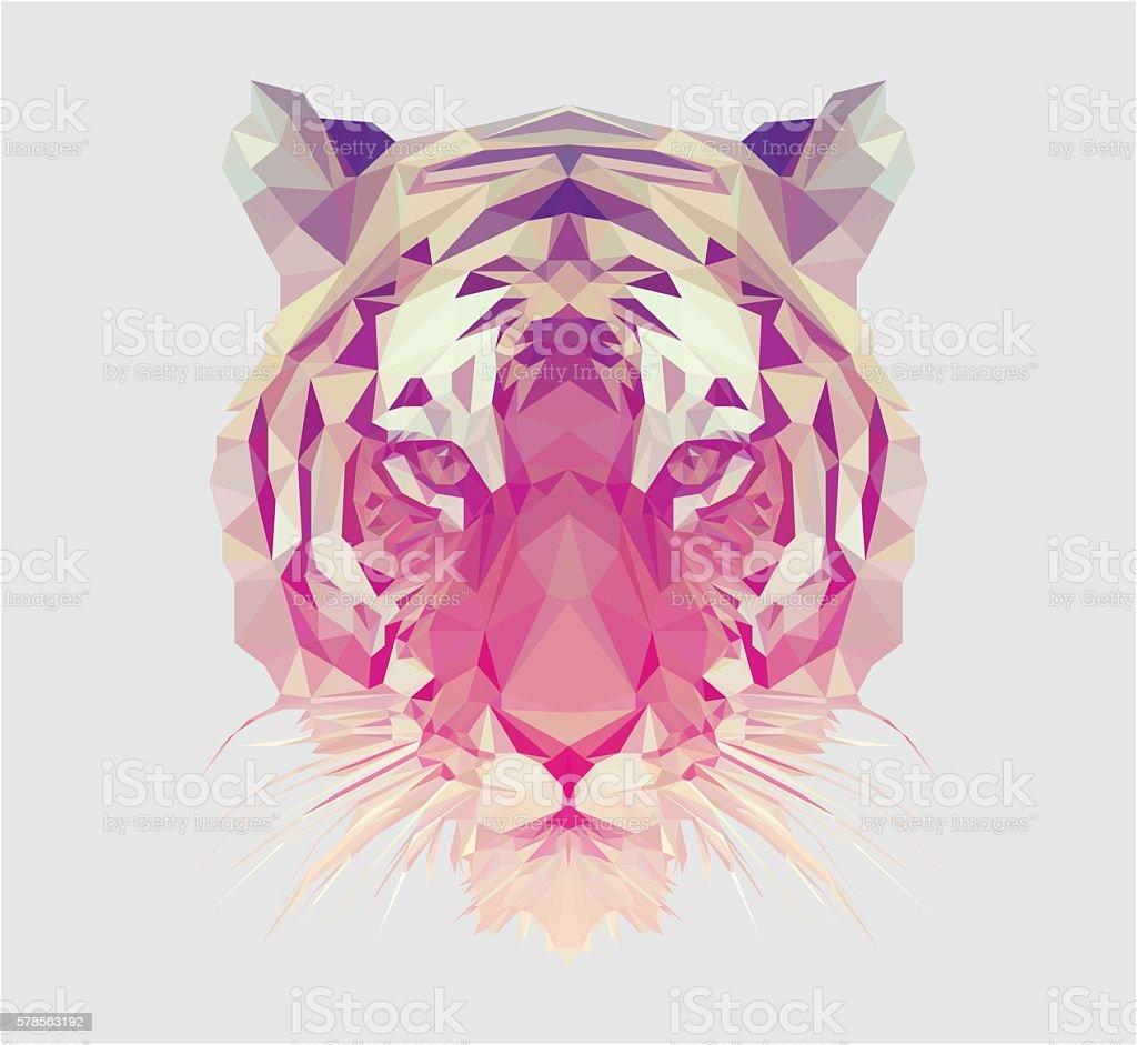 Polygonal Tiger Portrait vector art illustration