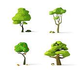 Polygonal trees, modern vector illustration, isolated.