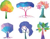 Vector Illustration of Colorful Polygonal Trees