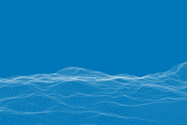 Polygonal uneven surface. Abstract mountains from a white grid on a blue background. Wireframe landscape. Vector illustration Polygonal uneven surface. Abstract mountains from a white grid on a blue background. Wireframe landscape. Vector illustration. land feature stock illustrations