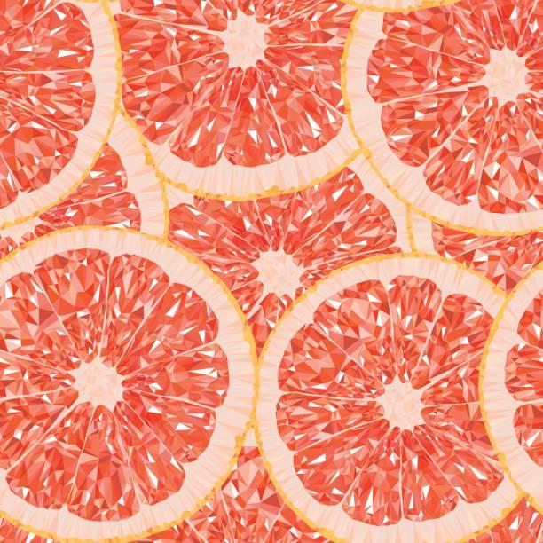 グレープ フルーツ スライスのシームレス パターンの多角形のベクトル イラスト - グレープフルーツ点のイラスト素材/クリップアート素材/マンガ素材/アイコン素材