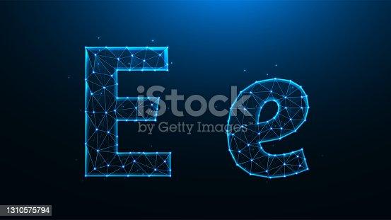 Polygonal vector illustration of letter E on a dark blue background.
