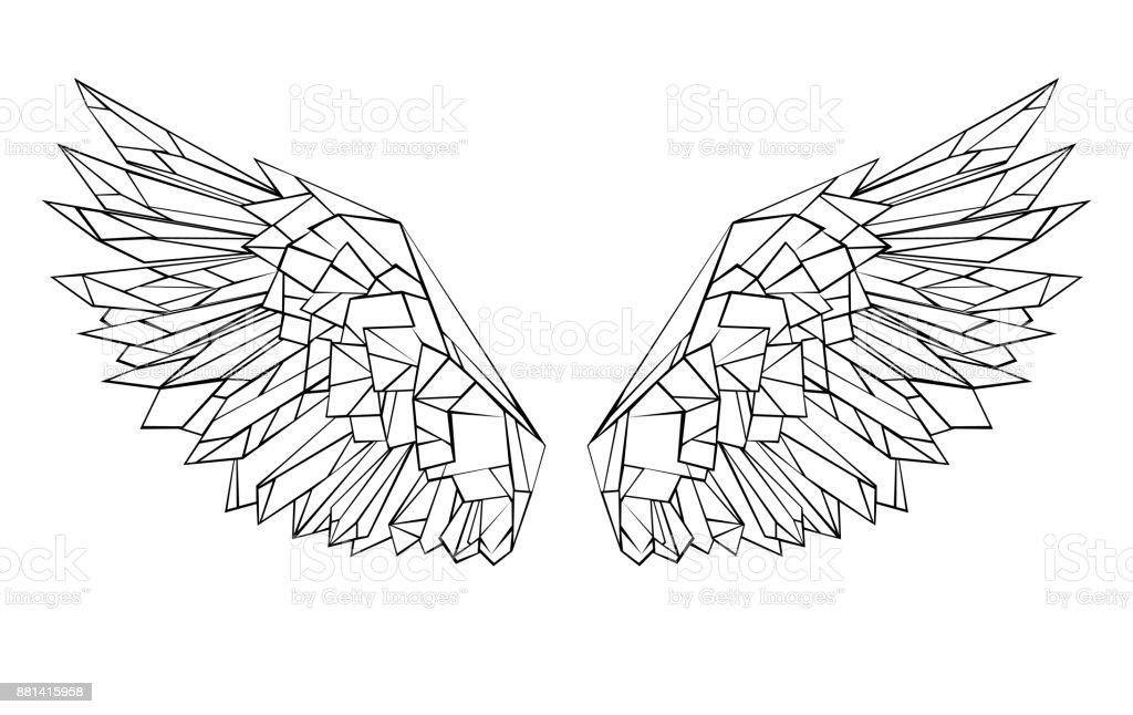 Polygonal wings vector art illustration