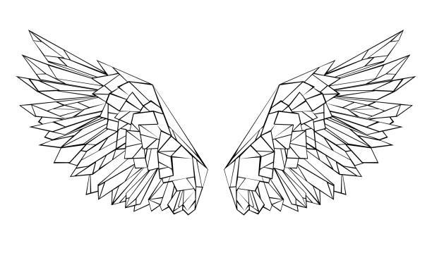 polygonal wings - animal wing stock illustrations