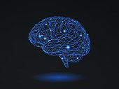 Low poly wireframe brain with connection dots glowing on black background