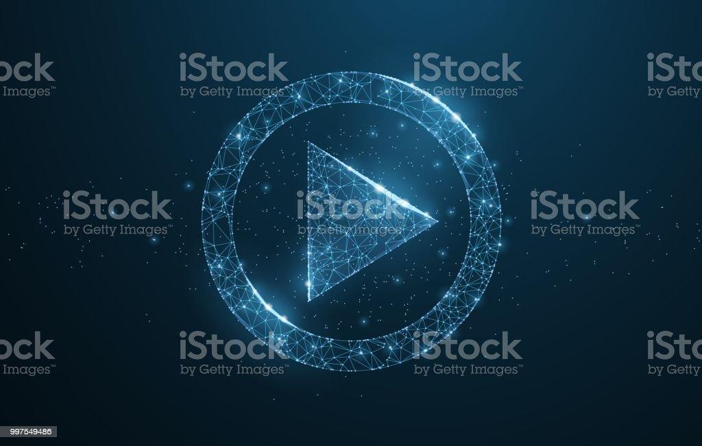 Polygonal wireframe play icon looks like constellation vector art illustration