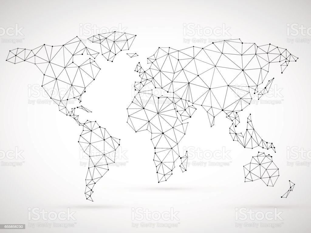 Polygonal World Map vector art illustration