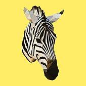 polygonal zebra, polygon animal, geometric triangle vector illustration