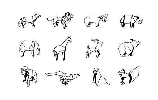Polygonal Zoo Animals Linear Icons Set. Low poly Animal Icon collection.