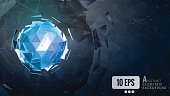 Polygonal_abstract_triangle_sphere_combination_glow_on_dark_background_graphic_template