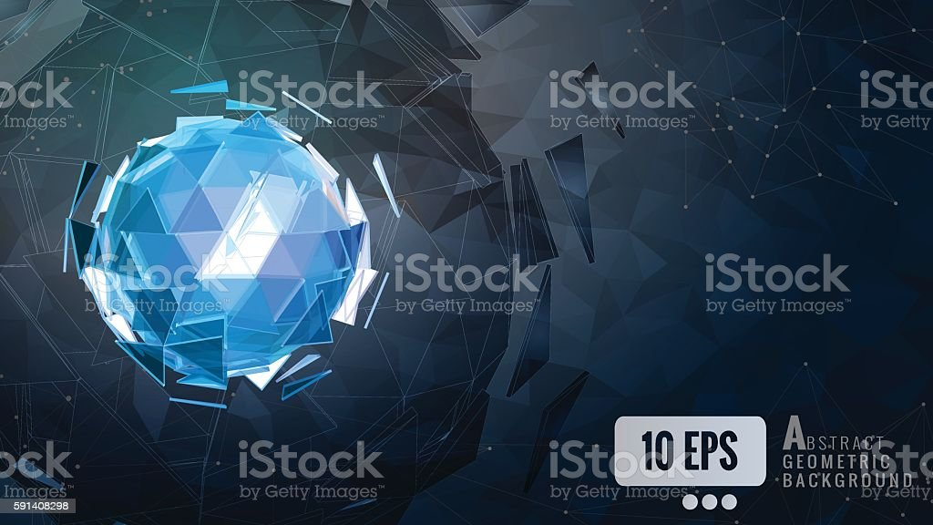 Polygonal_abstract_triangle_sphere_combination_glow_on_dark_back vector art illustration