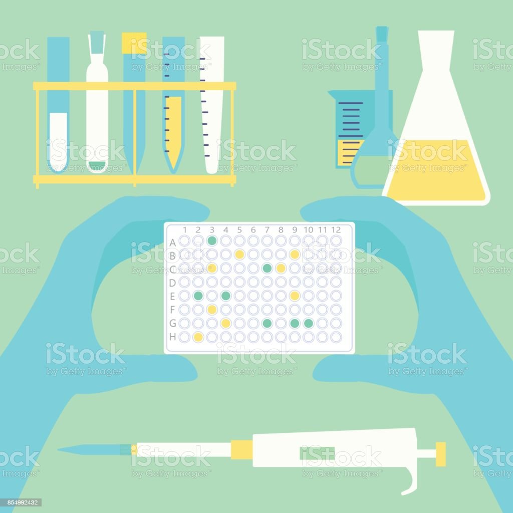 polymerase, technitian, nanotech, biotechhand holding pcr plate vector art illustration