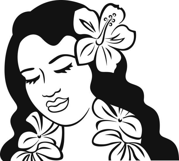 Polynesia Girl Black and White vector art illustration