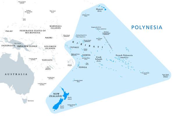 Polynesia, subregion of Oceania, political map vector art illustration
