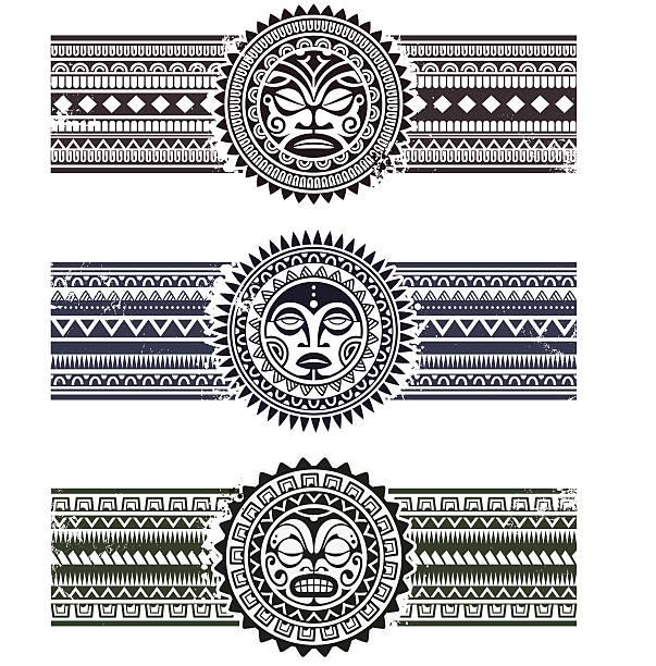 Polynesian pattern bracelets vector art illustration