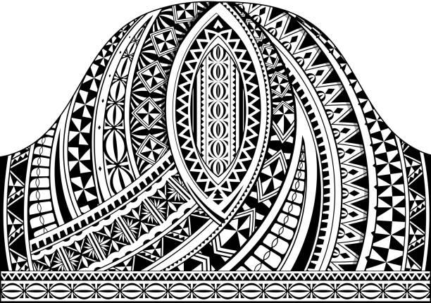 polynesischen stil halbe ärmel tattoo vorlage - maori tattoos stock-grafiken, -clipart, -cartoons und -symbole