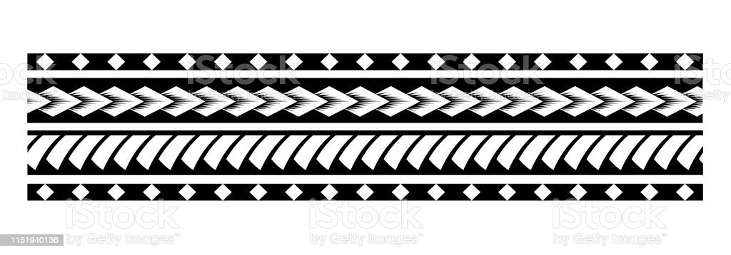 Polynesian Tattoo Pattern Seamless Border Vector Sleeve Samoan