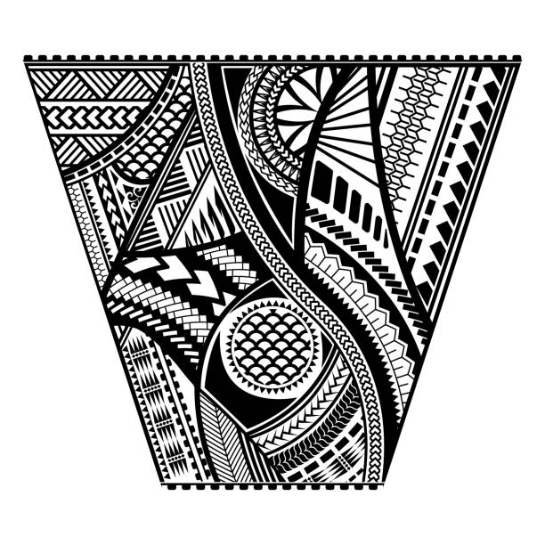 polynesian tattoo style sleeve vector design - tribal tattoos stock illustrations, clip art, cartoons, & icons