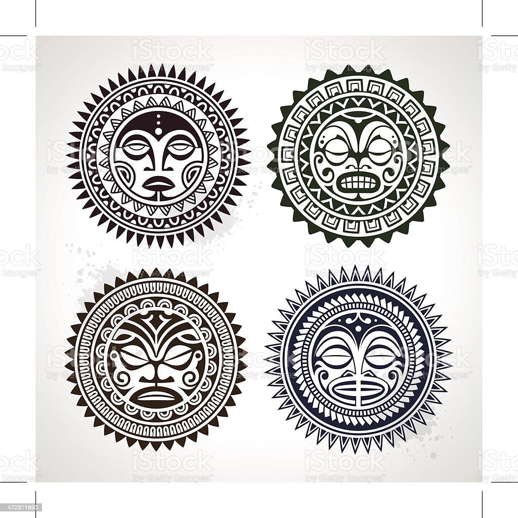 Tatuaje estilo contemporáneo de la Polinesia y máscaras - ilustración de arte vectorial