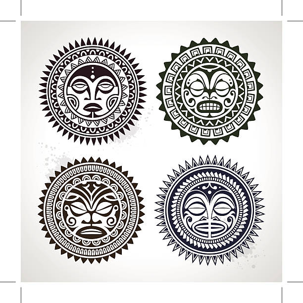 polynesian tattoo styled masks - tribal tattoos stock illustrations, clip art, cartoons, & icons