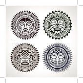 Polynesian tattoo styled masks