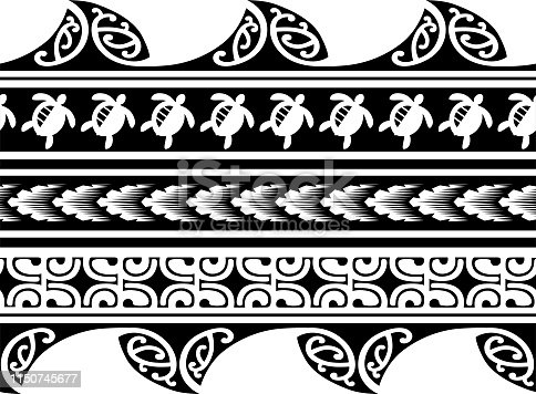Polynesian tattoo sleeve pattern vector, samoan forearm and foot design, maori bracelet armband tattoo tribal, band fabric seamless ornament, polynesian pattern tattoo tribal border.Polynesian tattoo lace pattern vector, bracelet tattoo ribbon border fabric seamless ornament