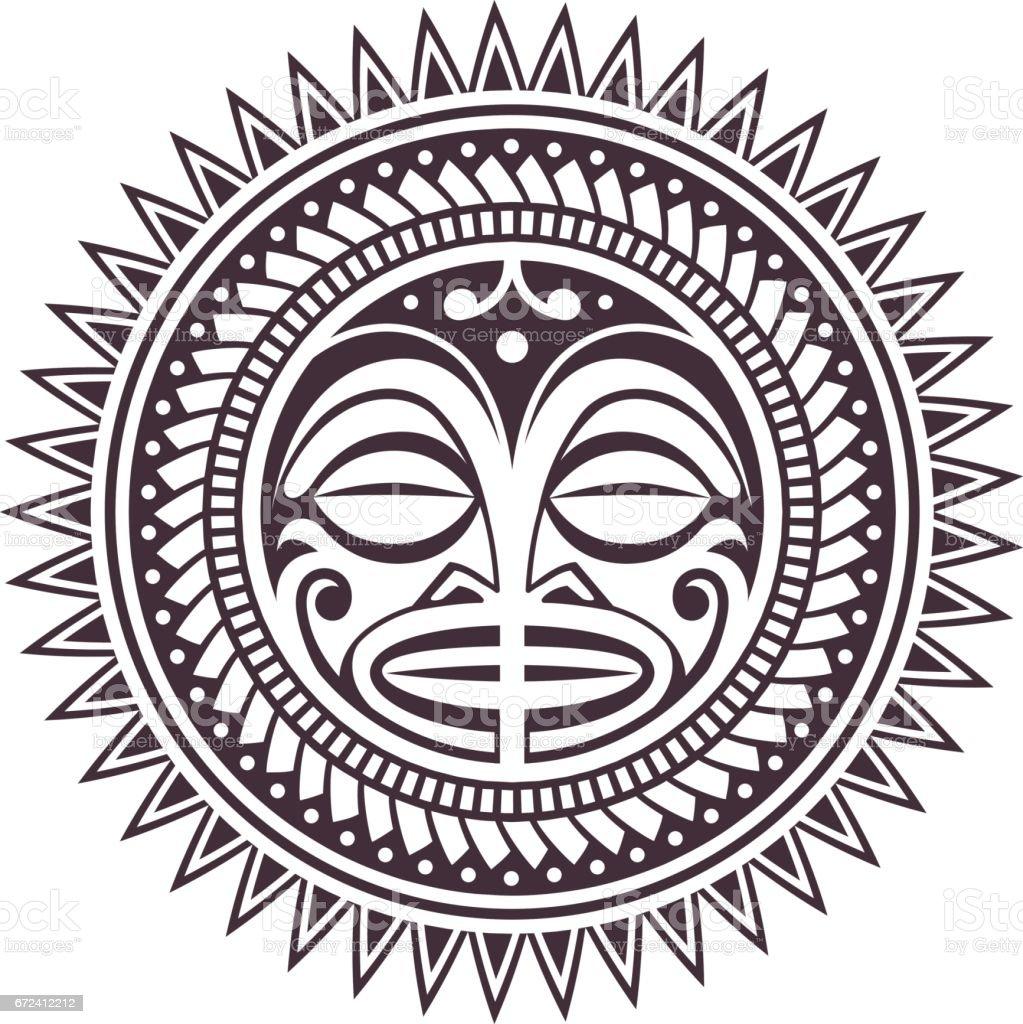 Máscara de vetor da Polinésia - ilustração de arte em vetor