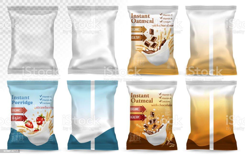 Polypropylene plastic packaging - instant porridge advert concept. - Royalty-free Alimentação Saudável arte vetorial