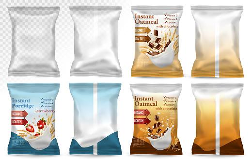 Polypropylene Plastic Packaging Instant Porridge Advert Concept - Arte vetorial de stock e mais imagens de Alimentação Saudável