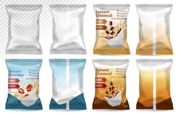 Polypropylene plastic packaging - instant porridge advert concept. Polypropylene plastic packaging - instant porridge advert concept. Desing template. Vector illustration cereal stock illustrations