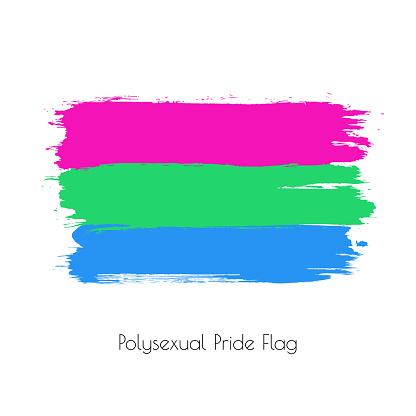 Polysexual lgbt vector watercolor flag