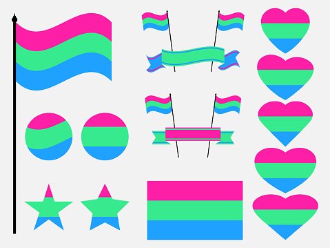 Polysexual pride flag collection of symbols. Hearts, stars and circles with polysexual flag. Sexual minorities. Design for banner and poster. Vector illustration