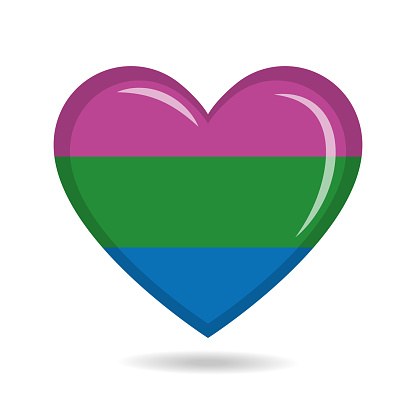 Polysexual pride flag in heart shape vector illustration