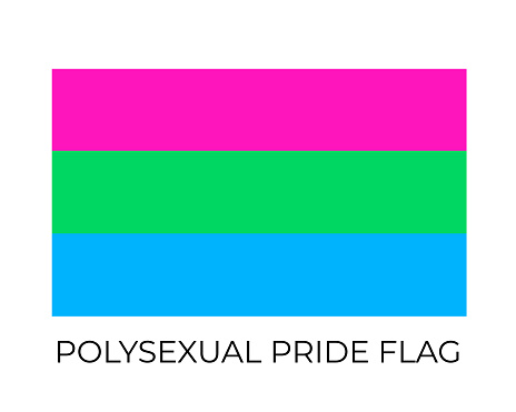Polysexual Pride Rainbow Flags. Symbol of LGBT community. Vector flag sexual identity. Easy to edit template for banners, signs, logo design, etc