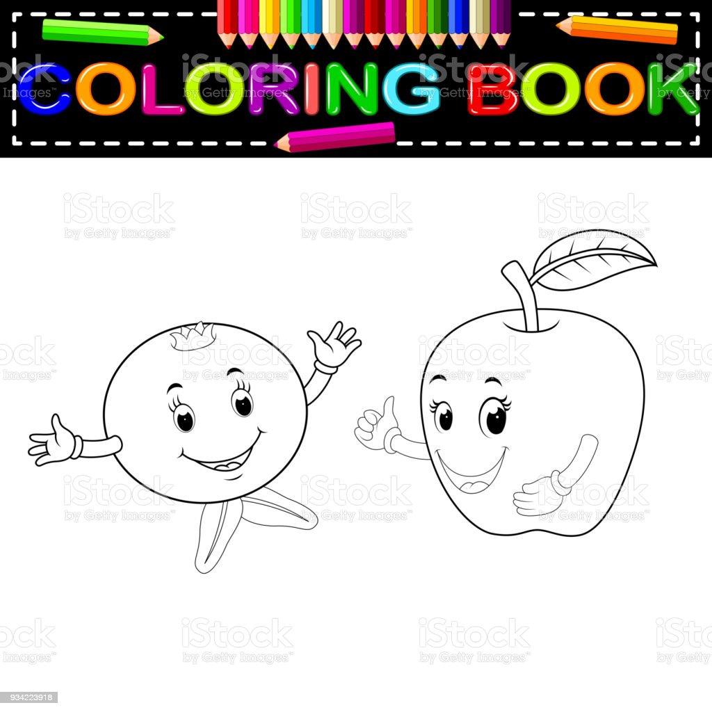 Ilustración de Granada Y Manzana Con Cara Para Colorear Libro y más ...
