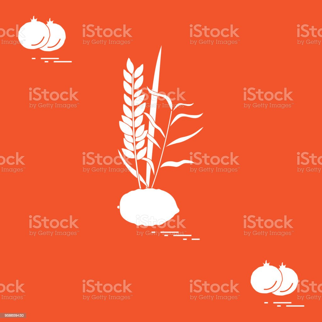 Pomegranate and Lulav - symbolic attribute of the holiday of Sukkot. Jewish traditions and symbols. vector art illustration
