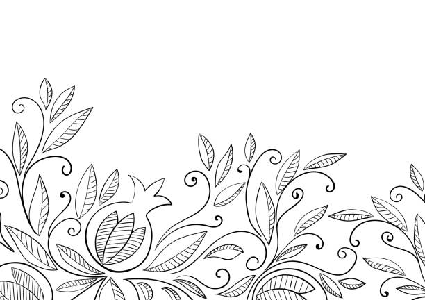 Pomegranate background Pomegranate background. Black and white linear vector illustration. Adult coloring page. rosh hashanah stock illustrations