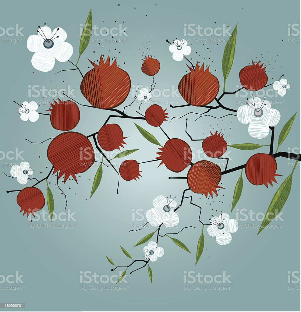 Pomegranate Branch With Flowers royalty-free stock vector art