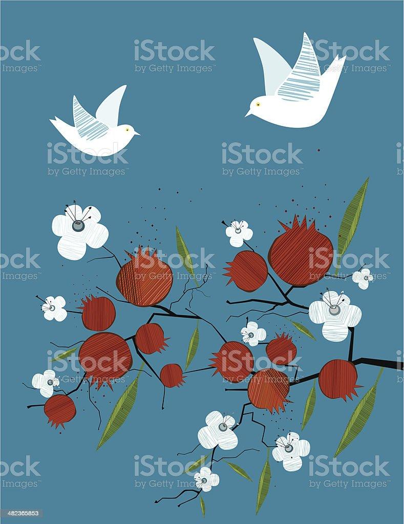 Pomegranate, Dove, Flowers On Blue Background vector art illustration