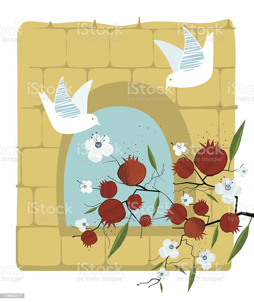 Pomegranate, Dove, Flowers On Old Stone Wall Background royalty-free stock vector art